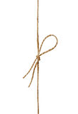 在弓或麻线栓的特写镜头串隔绝在白色 免版税图库摄影