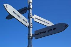 在引导对北极的栈桥的路标和niagra秋天和温哥华 库存照片