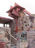 在弗兰克・劳埃德・赖特` s Taliesin西部斯科茨代尔,亚利桑那的钟楼 免版税库存图片