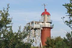 在弗利兰岛海岛上的灯塔  库存图片