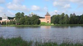 在弗拉基米尔塔的看法,覆盖威严的早晨 Veliky诺夫哥罗德,俄罗斯克里姆林宫  影视素材