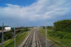 在弗拉基米尔,俄罗斯附近的铁路 免版税库存图片