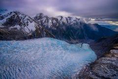 在弗朗兹约瑟夫冰川的风景风景 南阿尔卑斯山,西海岸,南岛,新西兰 库存图片