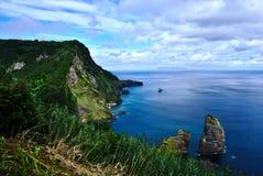 在弗洛雷斯岛的海岸线有Corvo海岛的在背景亚速尔葡萄牙中 免版税图库摄影