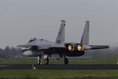 在弗里斯兰省人旗子锻炼期间的美国空军F-15老鹰 免版税库存图片