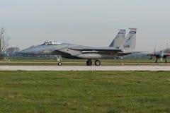 在弗里斯兰省人旗子锻炼期间的美国空军F-15老鹰 库存照片