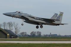 在弗里斯兰省人旗子锻炼期间的美国空军F-15老鹰 图库摄影