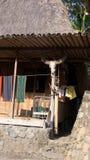 在弗洛勒斯,印度尼西亚威胁Bena头骨房子有Ngada人民的草小屋的一个传统村庄 免版税库存照片