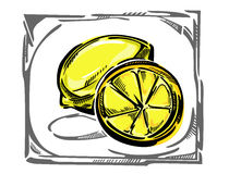 在弯曲的框架的一个风格化传染媒介柠檬 免版税库存图片