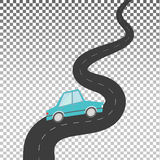 在弯曲道路的汽车 皇族释放例证