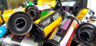 在弹药筒摄影卷筒软片的照片影片35 mm 免版税库存照片