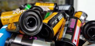 在弹药筒摄影卷筒软片的照片影片35 mm 免版税库存图片