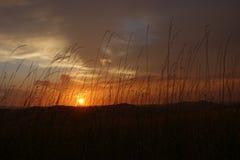 在强的雷暴以后的美好的日落 免版税库存图片