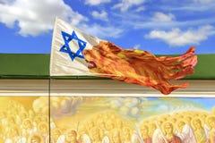 在强风的以色列旗子 免版税库存图片