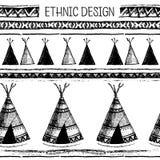 在当地样式的种族无缝的样式 房客圆锥形小屋样式 手拉的印地安传染媒介 美国本地人帐篷样式 库存图片
