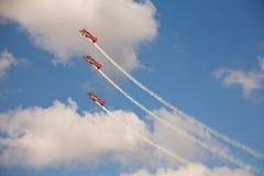 在形成的三架飞机在airshow 库存照片