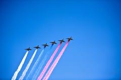 在形成的喷气机,莫斯科,俄罗斯 图库摄影