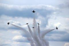 在形成的美国空军队雷鸟 免版税库存照片