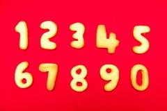 在形状数字的开胃曲奇饼 免版税库存照片