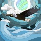 在彩色玻璃样式的例证与美妙的老鹰和月亮在背景夜星天空和云彩 皇族释放例证