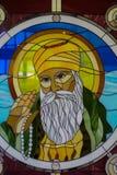 在彩色玻璃的锡克教徒的宗师画象在锡克教徒的寺庙 免版税库存图片