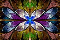 在彩色玻璃窗样式的美好的分数维样式 蓝色, b 皇族释放例证