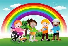 在彩虹下的病的孩子 免版税库存照片