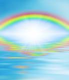 在彩虹宗教信仰的眼睛浇灌智慧 免版税库存照片