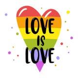 在彩虹心脏的同性恋自豪日字法,题字爱是爱 LGBT纠正概念 边界月桂树离开橡木丝带模板向量 向量例证