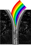 在彩虹拉链的牛仔裤 免版税库存图片