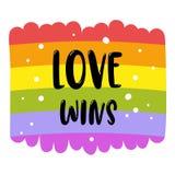在彩虹旗子的同性恋自豪日字法,题字爱赢取 LGBT纠正概念 边界月桂树离开橡木丝带模板向量 向量例证
