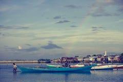 在彩虹海运之上 库存图片