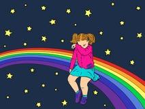 在彩虹的哀伤的孩子 女孩被触犯了,哀伤和哭泣 ?? 免版税库存图片
