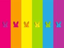 在彩虹背景的愉快的复活节兔子兔宝宝 库存照片