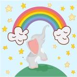 在彩虹背景的逗人喜爱的大象动画片和星导航例证 免版税库存照片