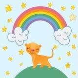 在彩虹背景的逗人喜爱的狮子动画片和星导航例证 库存图片