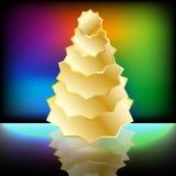 在彩虹背景的金树 库存照片