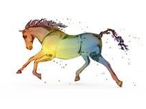 在彩虹自来水白色的马 库存图片