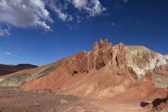在彩虹谷,智利的五颜六色的岩石 库存照片