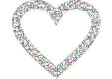 在彩虹颜色的心脏形状 库存图片