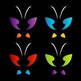 在彩虹颜色的蝴蝶商标 免版税库存照片
