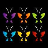 在彩虹颜色的蝴蝶商标 库存照片