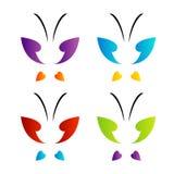 在彩虹颜色的蝴蝶商标 免版税图库摄影