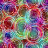 在彩虹颜色,在快乐的淡色的现代抽象背景的模糊的半透明的重叠的圈子样式 免版税库存图片