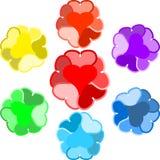 在彩虹颜色绘的原始的被设计的心脏 免版税库存照片