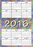 2016在彩虹马赛克背景的日历 免版税库存照片