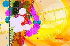 在影片的难看的东西五颜六色的墨水泼溅物 免版税库存照片