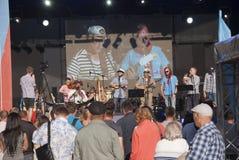 在彼得和保罗堡垒的海滩的音乐会以纪念假日 图库摄影