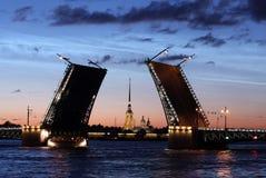 在彼得和保罗堡垒的看法通过宫殿桥梁 免版税库存图片