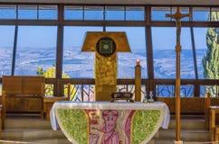 在彼得` s议院Capernaum以色列的天主教 库存照片